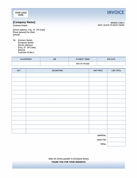 Service Invoice Blue Gradient Design Office Templates Templates Memo Template