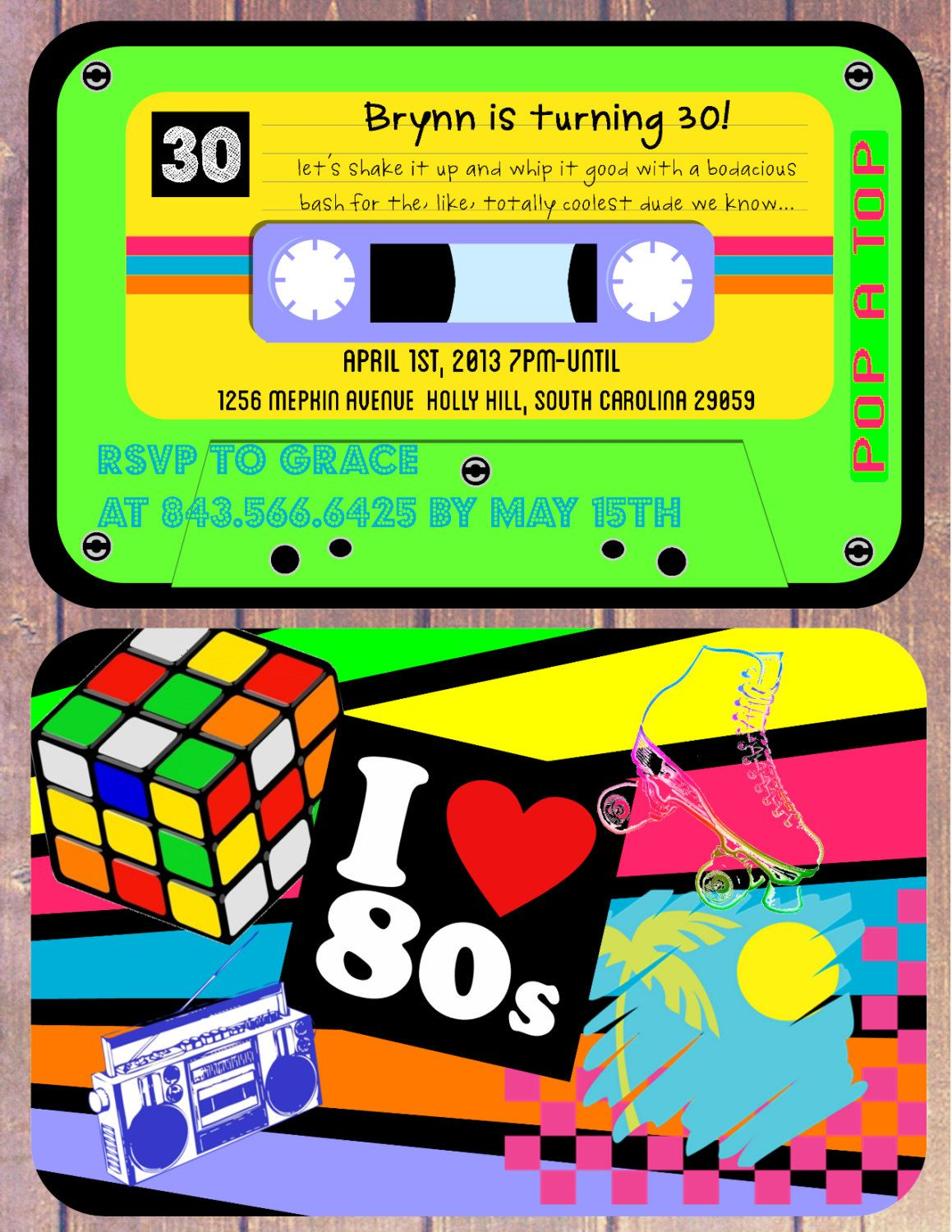 I love the 80s Theme Birthday Invitation Cassette Tape invite