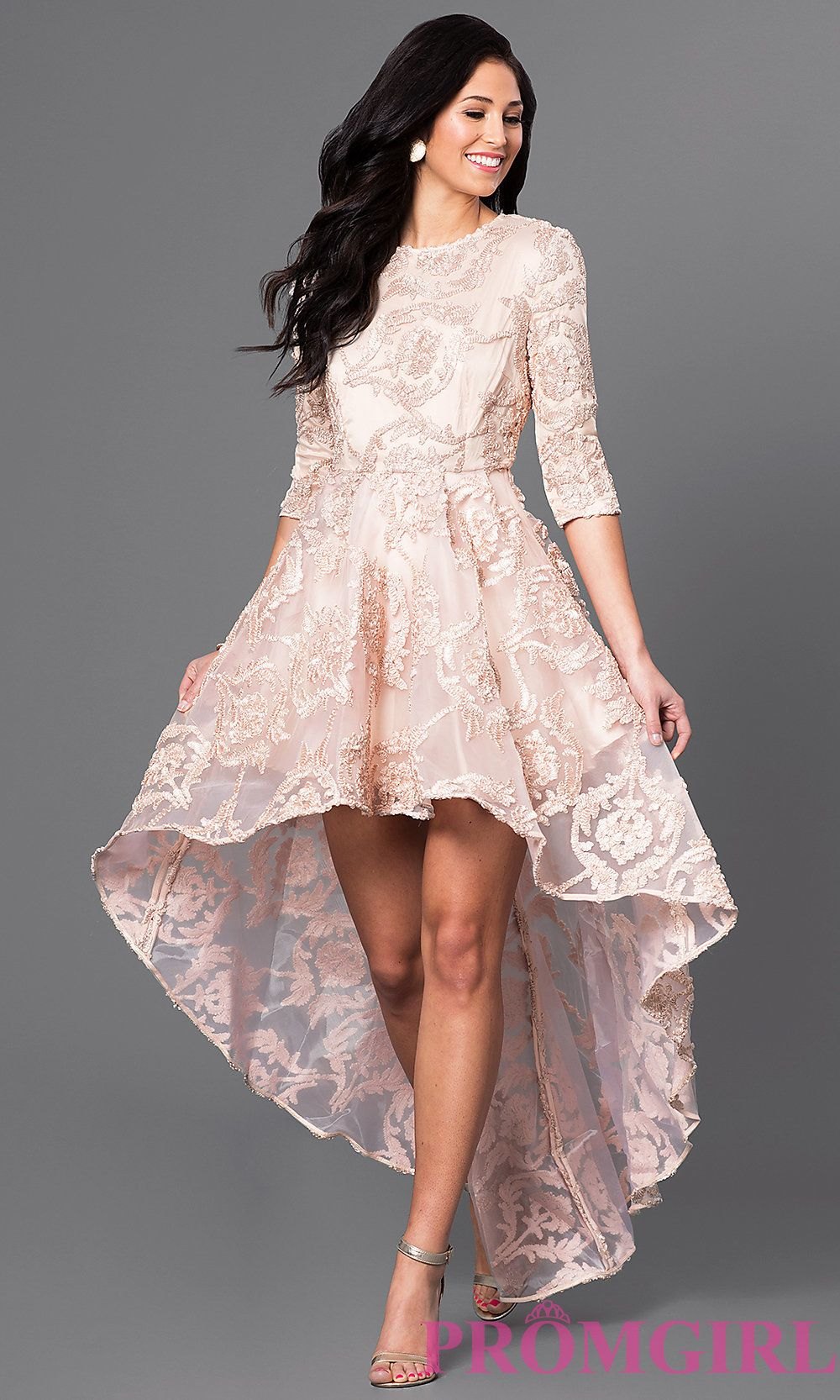 Image of highlow lace party dress with threequarter sleeves front