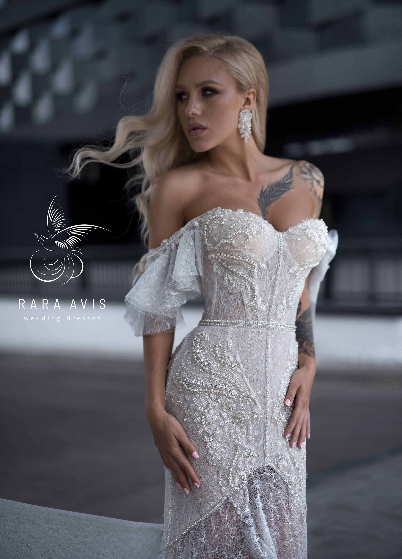 Grey mermaid wedding dress  Luxury wedding dress DARLIN with shoulder sleeves by RARA AVIS