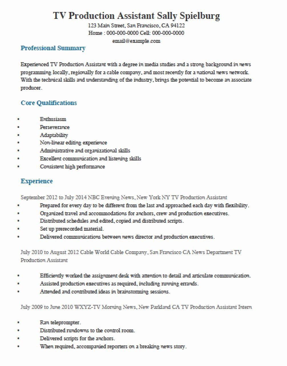 Production Assistant Resume No Experience New Television Tv Production Assistant Resume Template Resume Examples Job Description Template Resume Guide