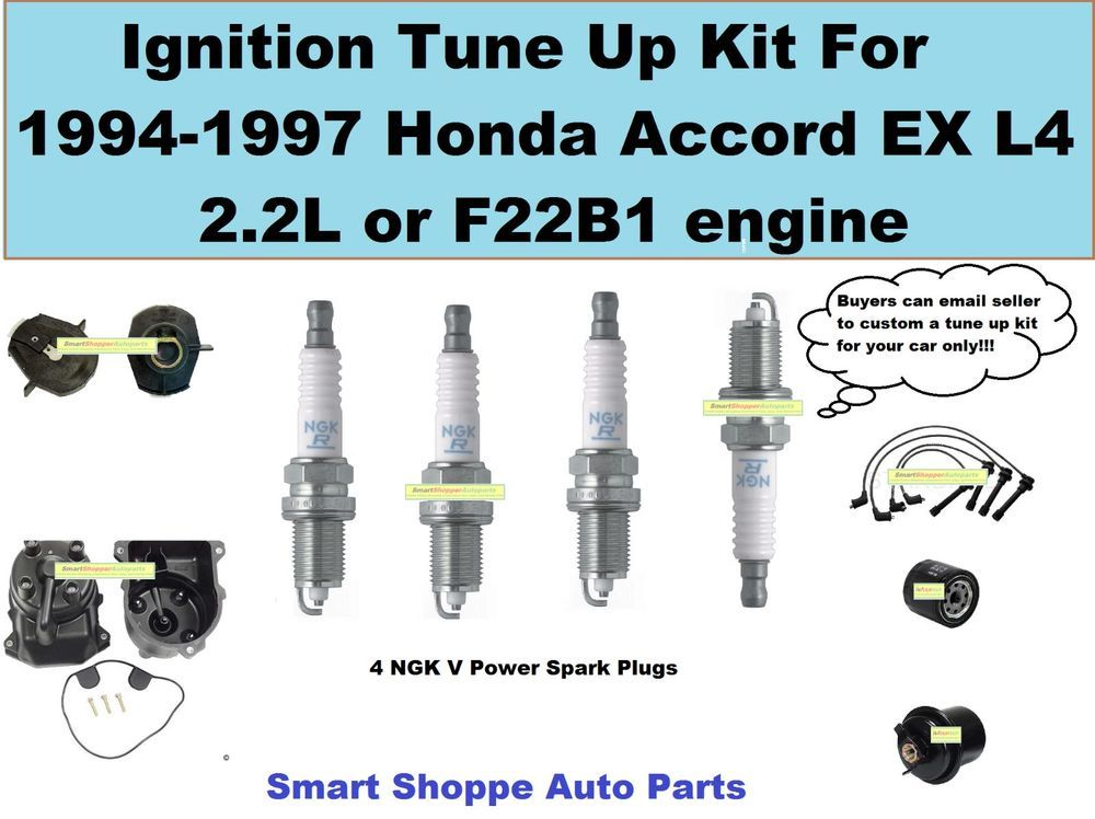 Tune Up Kit For 94-97 Accord EX L4 Spark Plug, Wire Set Cap Roto ...
