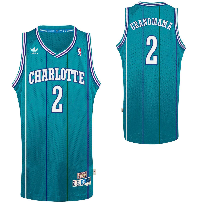 aa01bcc7c914 adidas Larry Johnson Charlotte Hornets Grandmama Soul Swingman Nickname  Jersey - Teal