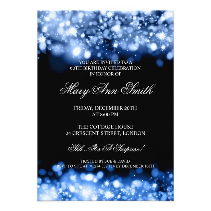 Elegant 60th Birthday Party Blue Sparkling Lights