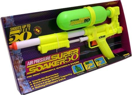 I received 2 super soakers at one birthday party! which was even better b/c I could have super soaker wars!