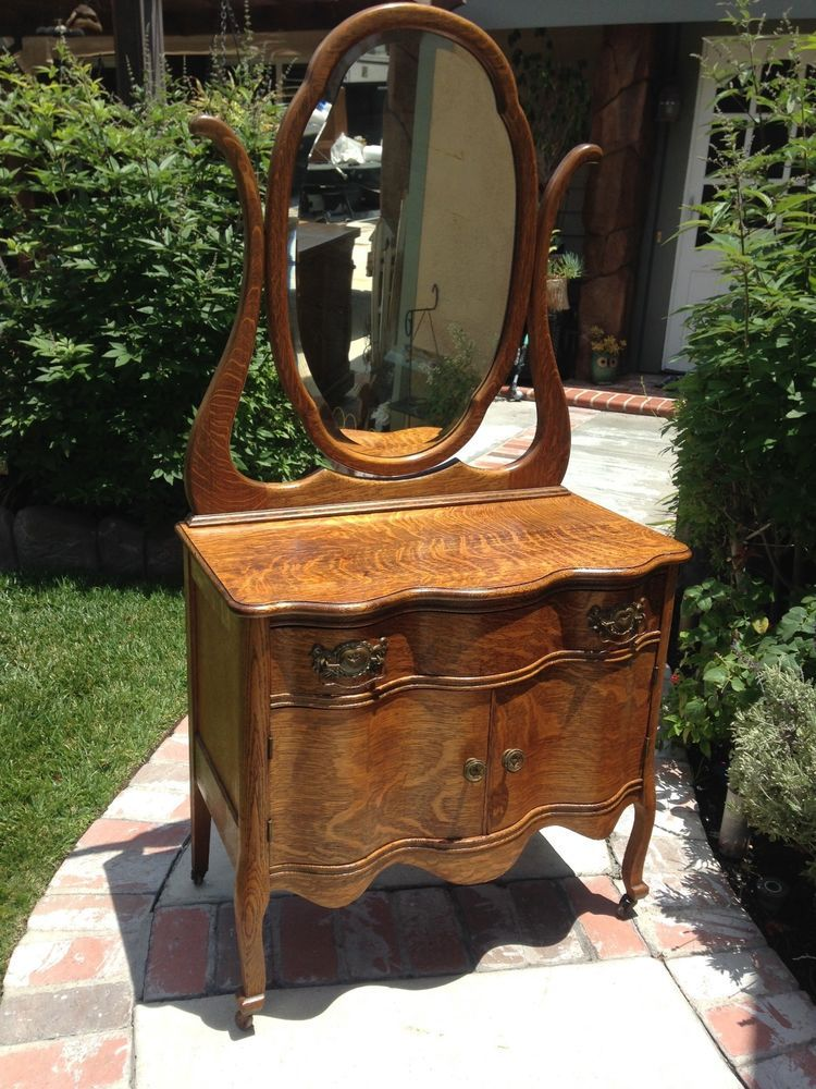 Antique Tiger Wood Vanity with Mirror Made in USA 1902 - Antique Tiger Wood Vanity With Mirror Made In USA 1902 Saint Paul