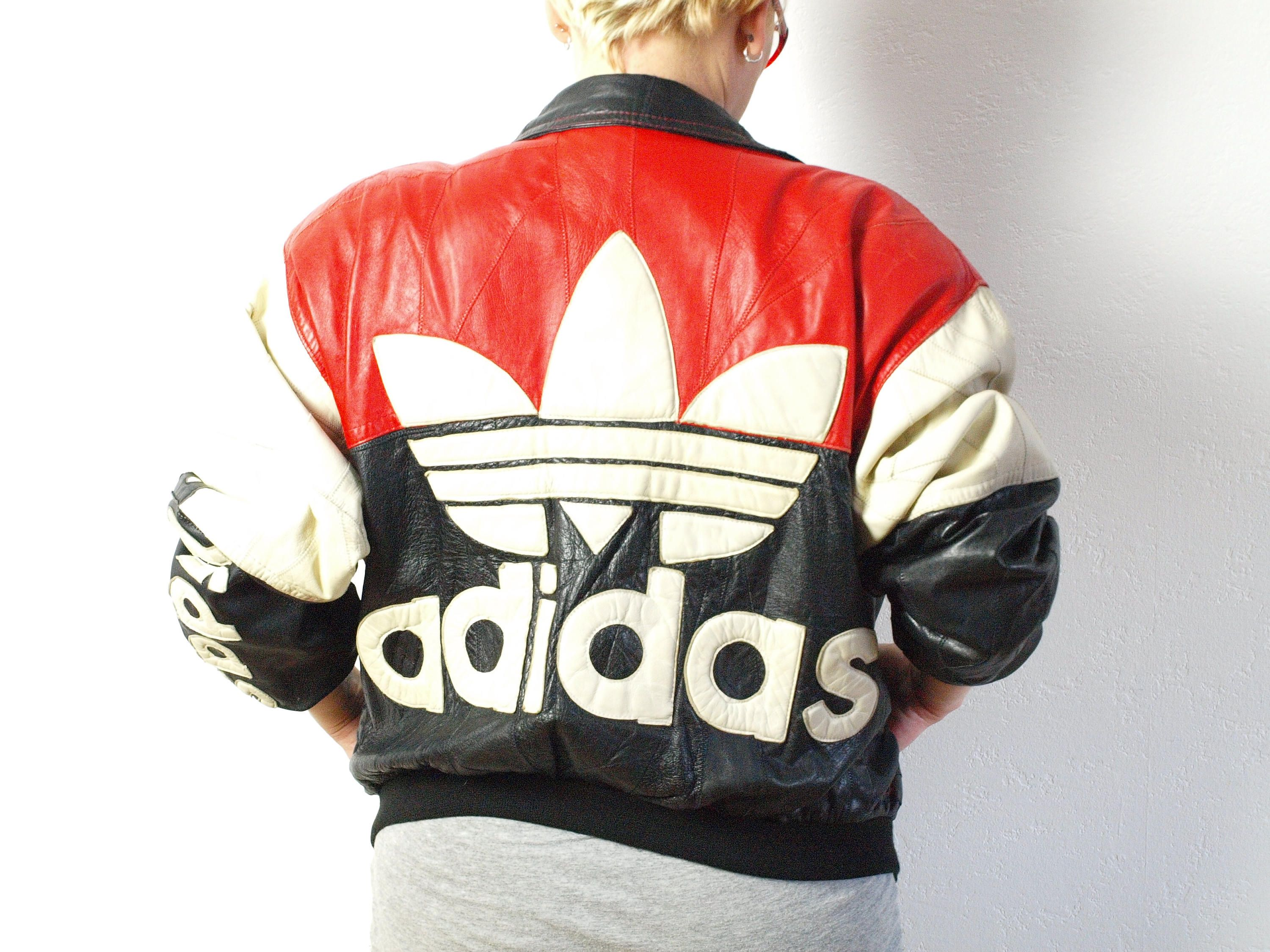 Leather ADIDAS jacket, Leather jacket, black and red bomber