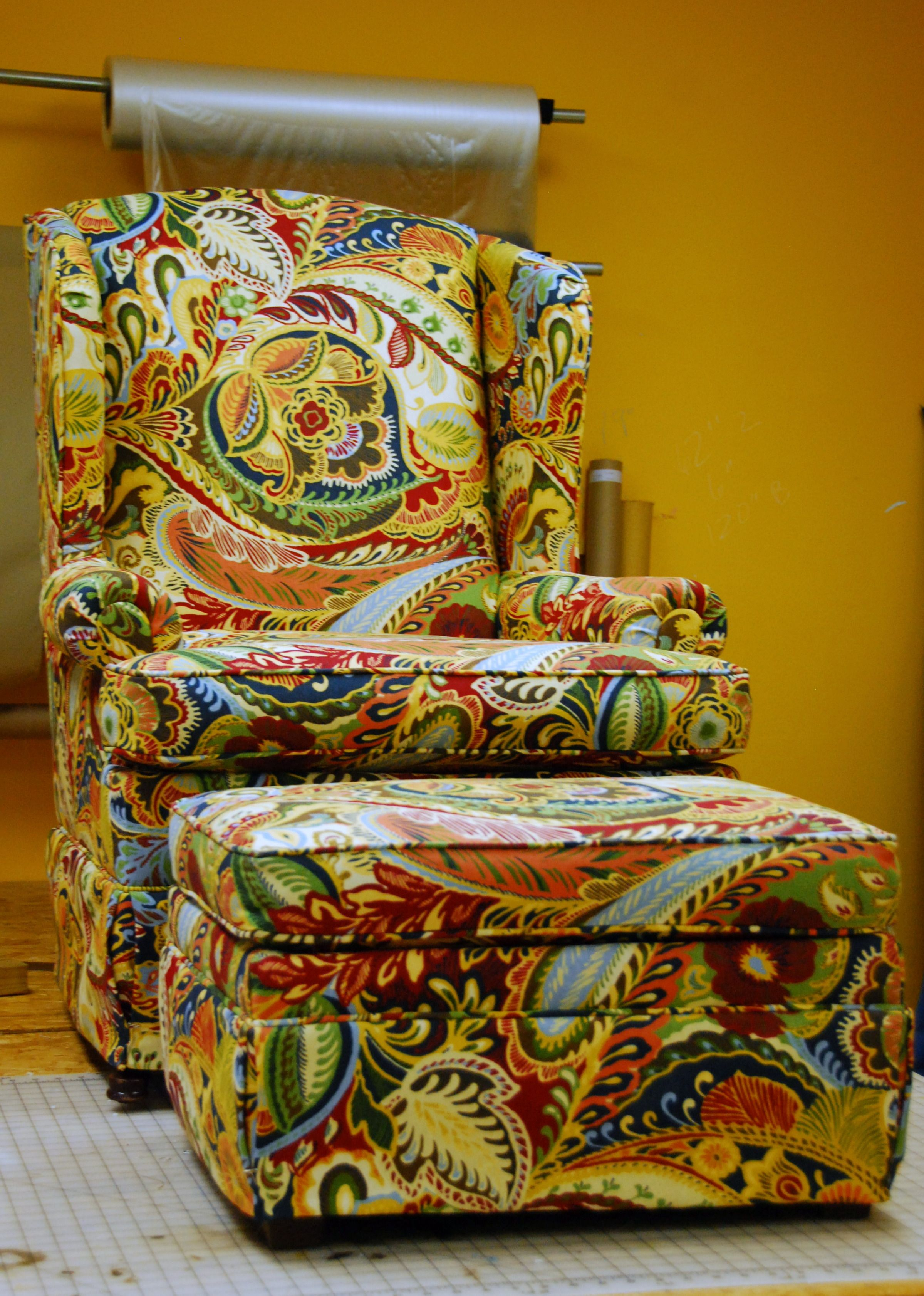 Wing Back Chair And Ottoman Reupholstered Love Chair