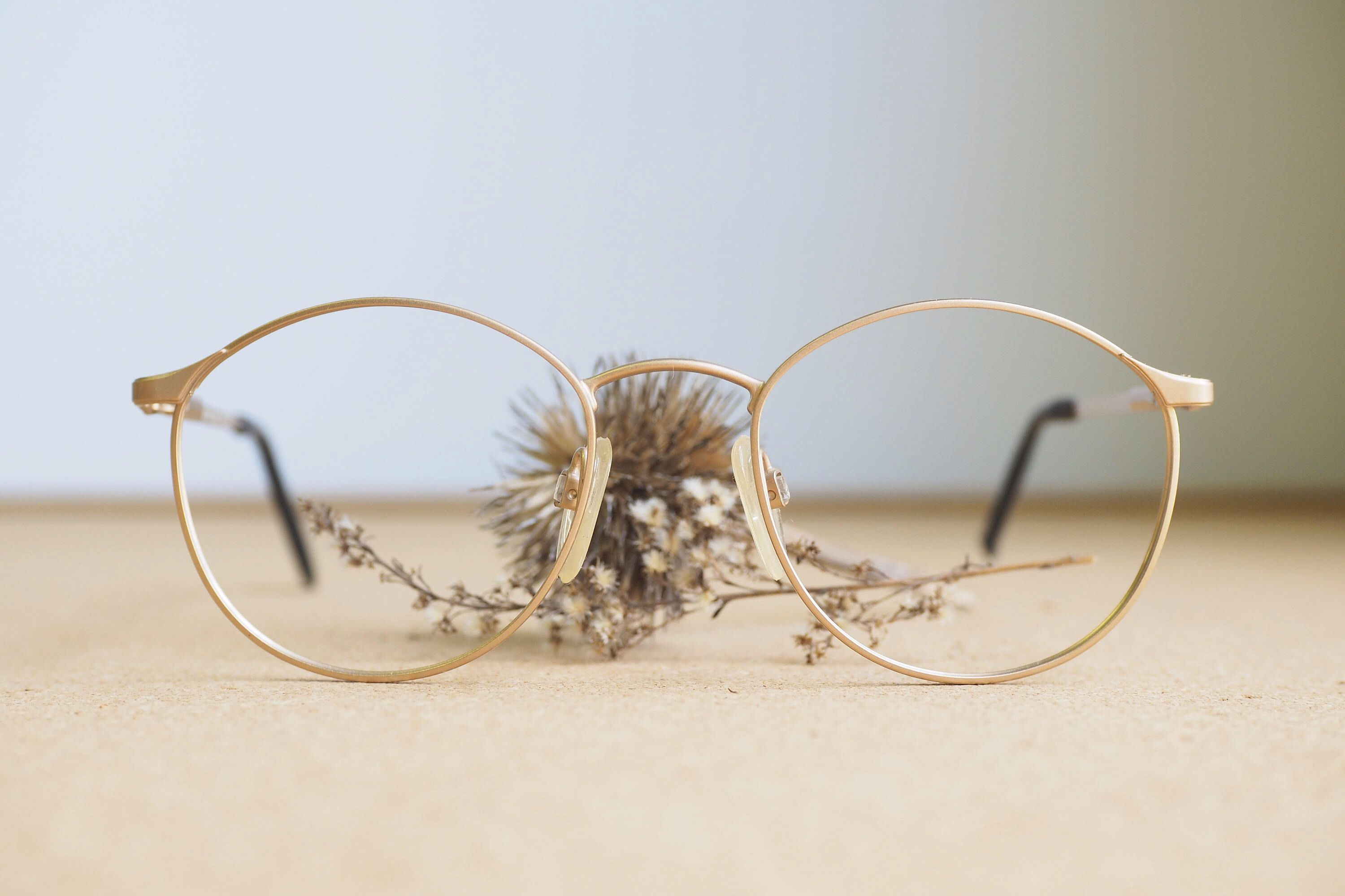 Vintage 90\'s Eyeglasses/New Old Stock/ 1990\'s/Wire Rim/ Gold toned ...