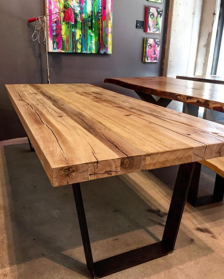 Rustikales Altholz Auf Industriellem Stahl Wood Table Furniture Dinningtable Esstisch Holz Massiv Esszimmertisch Holz