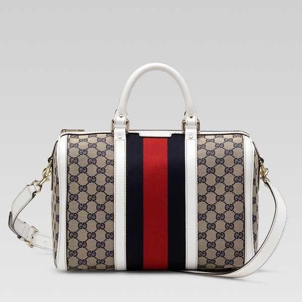 5be158d5b51 Gucci Vintage Web Medium Boston Bag 247205 in Beige White