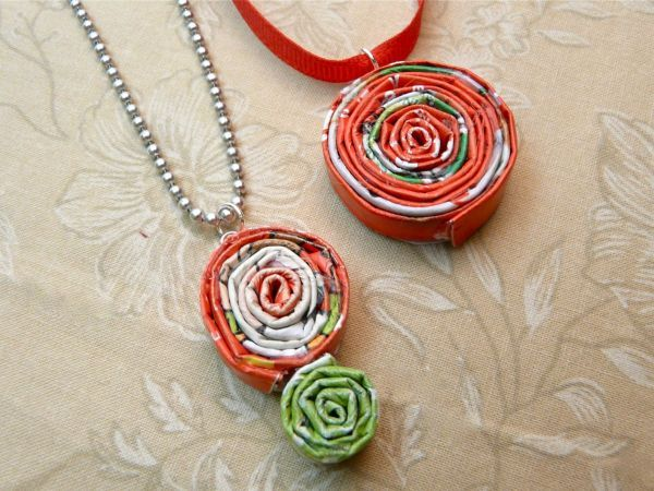 If you have a surplus of old magazines, tear out some pages and whip up a pretty coiled pendant. They're so quick to make, you can build a whole wardrobe of them!