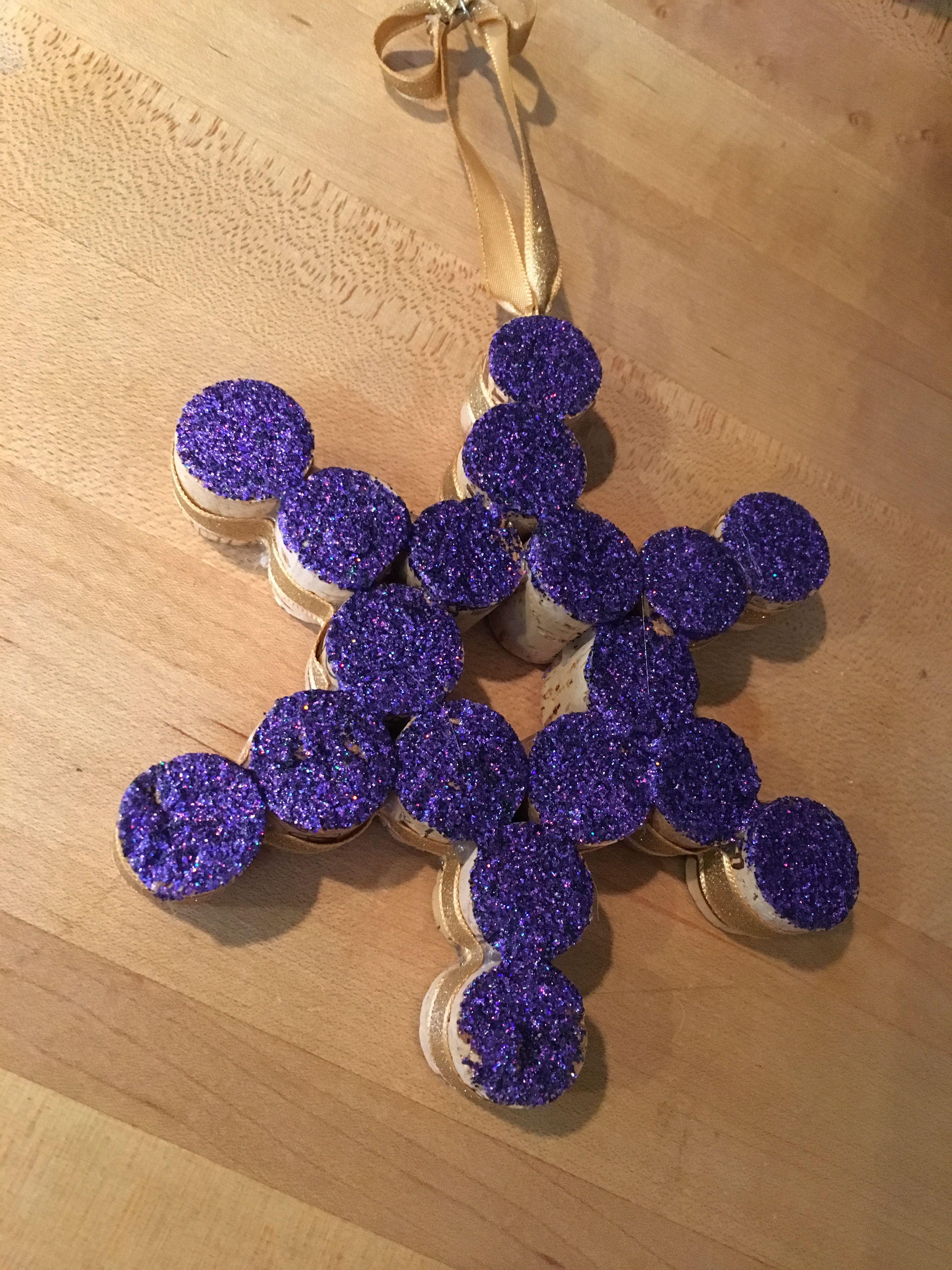 Wine cork snowflake ornament Snowflake ornaments