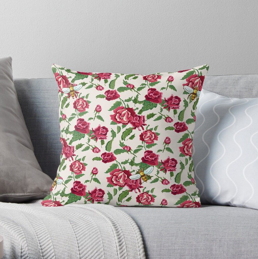 Honey Bees and Pretty Flowers Throw Pillow