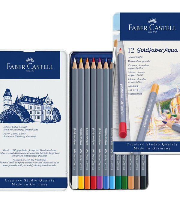 Creative Studio 12 Pk Goldfaber Aqua Watercolor Pencils In Metal