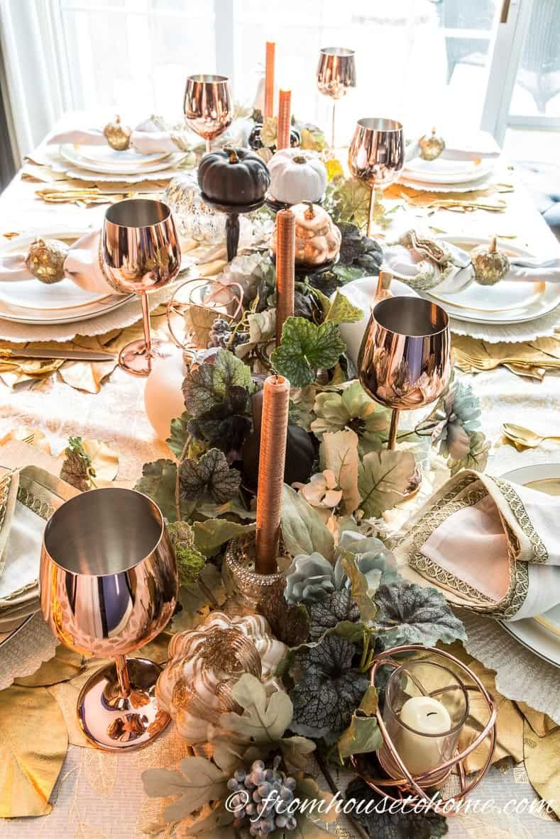 Beautiful Gold And Copper Fall Table Setting Entertaining Diva From House To Home Fall Room Decor Fall Table Settings Autumn Decorating