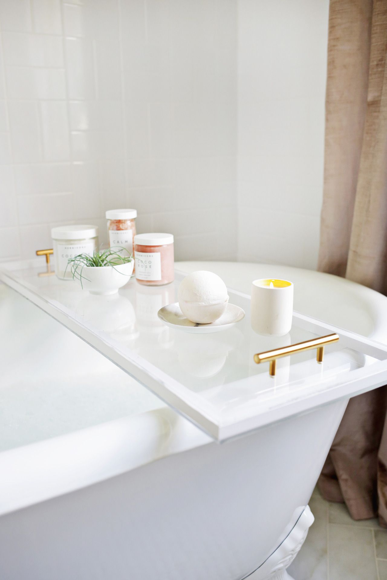 Lucite Bathtub Caddy | A Beautiful Mess I sadly don\'t have a bathtub ...