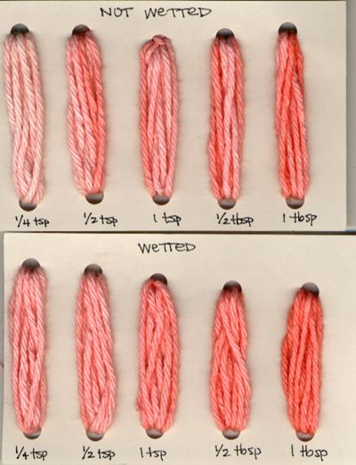 fc74283328fd dyeing cotton with KoolAid  results of wetting concentration trials ...