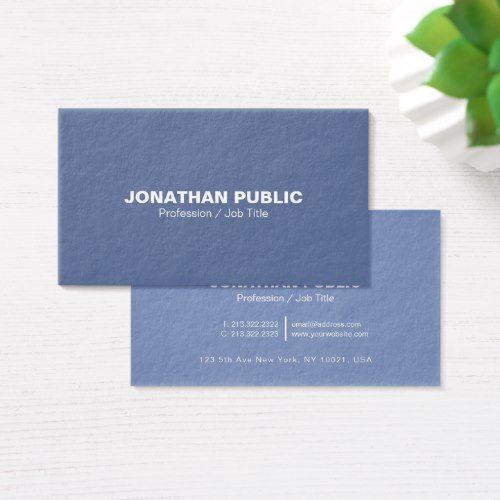 Modern Professional Elegant Blue Ultra Thick Luxe Business Card Zazzle Com Luxe Business Cards Gold Business Card Business Card Minimalist