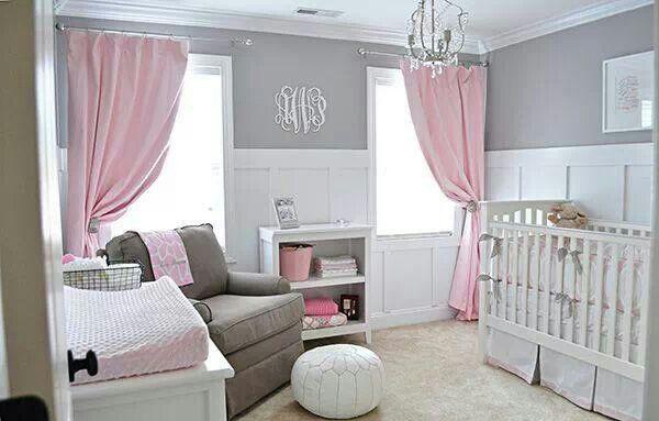 Light Gray Walls Soft Pink Curtains Nursery