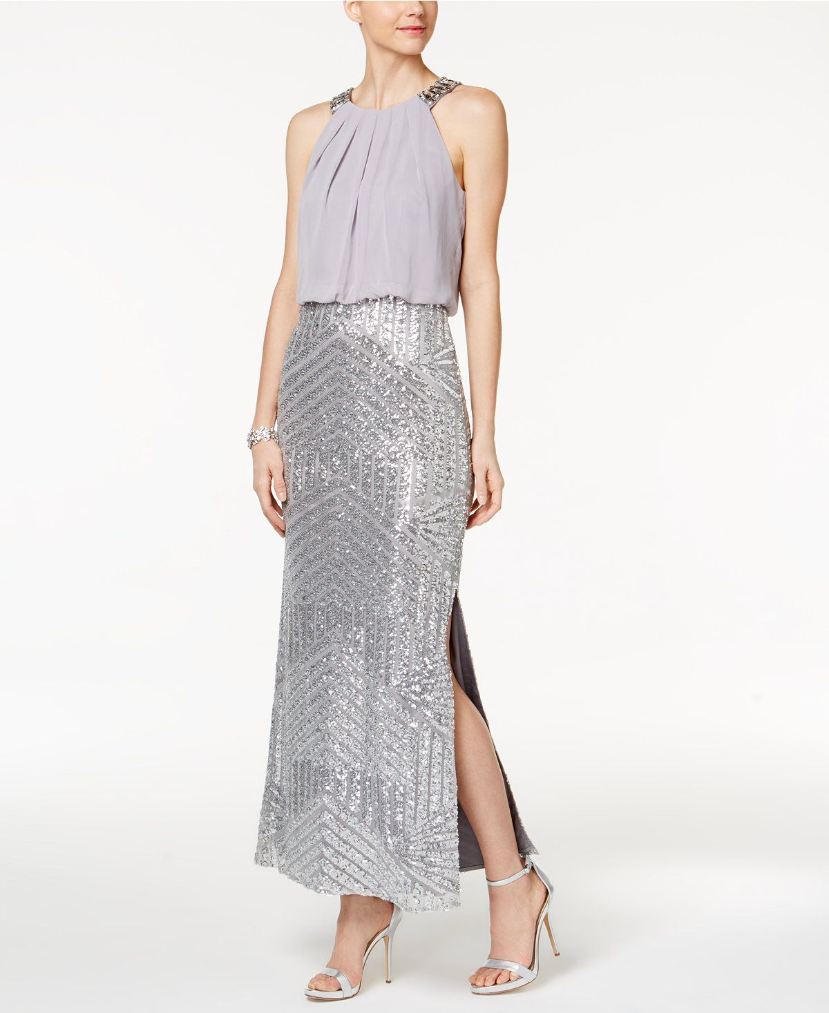 Vince camuto geosequined blouson gown dresses women macyus