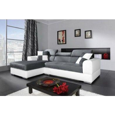 Canapé angle gauche en simili cuir blanc et tissu microfibre gris