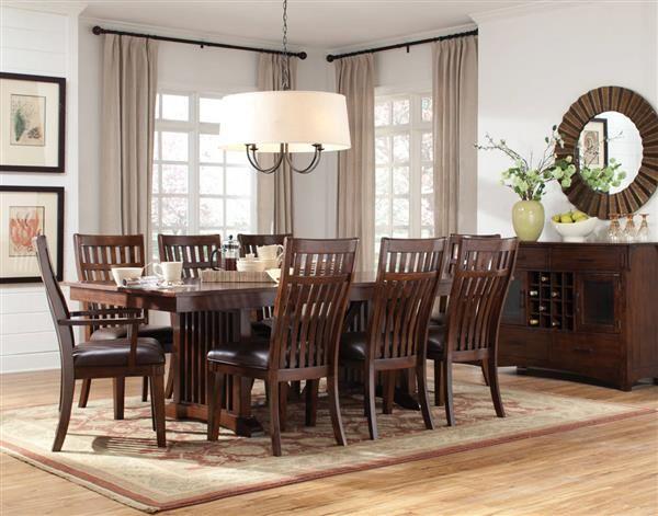 Artisan Loft Craftsman Brown Oak PVC Wood 9pc Dining Room Set