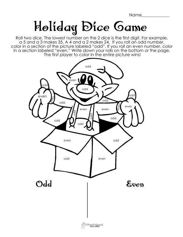 Holiday dice game to practice evens vs. odd numbers. Great