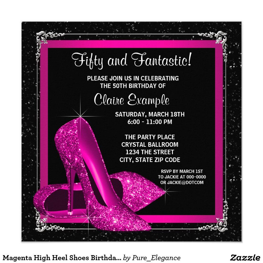 Magenta High Heel Shoes Birthday Party Invitation Zazzle