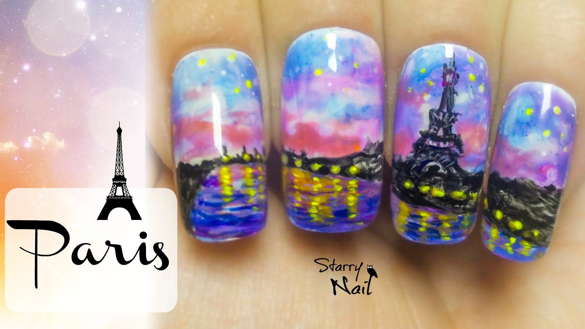 Watercolor Paris at Night Freehand Nail Art Video Tutorial by ...
