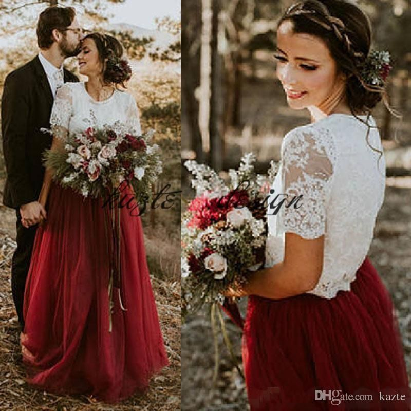 2018 Country Wedding Dress Vintage Two Pieces Ivory Lace Top Dark