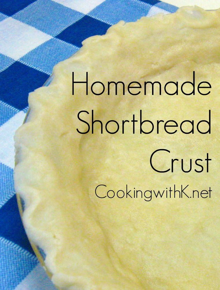 Homemade Buttery Shortbread Crust Easy Homemade Buttery Shortbread Crust is made with your hands and not a rolling pin. Melt the butter in a pie plate and add rest of the ingredients and mix. Using your hands pat dough around the pie plate into a crust. Taste just like a shortbread cookie. Perfect for cream pies.Easy Homemade Buttery Shortbread Crust is made ...