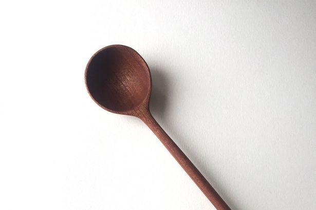 """Hand Carved 13.4"""" Wooden Cooking Or Serving Spoon Made From Mahogany Tree - Kitchen Cooking Utensil by Whole Grain Homes on Gourmly"""