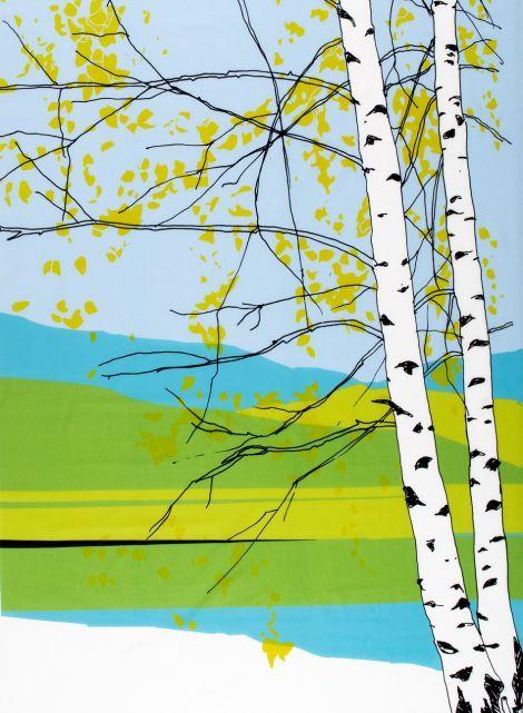 Design: Maija Louekari. Kaiku-kangas (v.sininen,vihreä,musta) | Kankaat, Puuvillakankaat | Marimekko