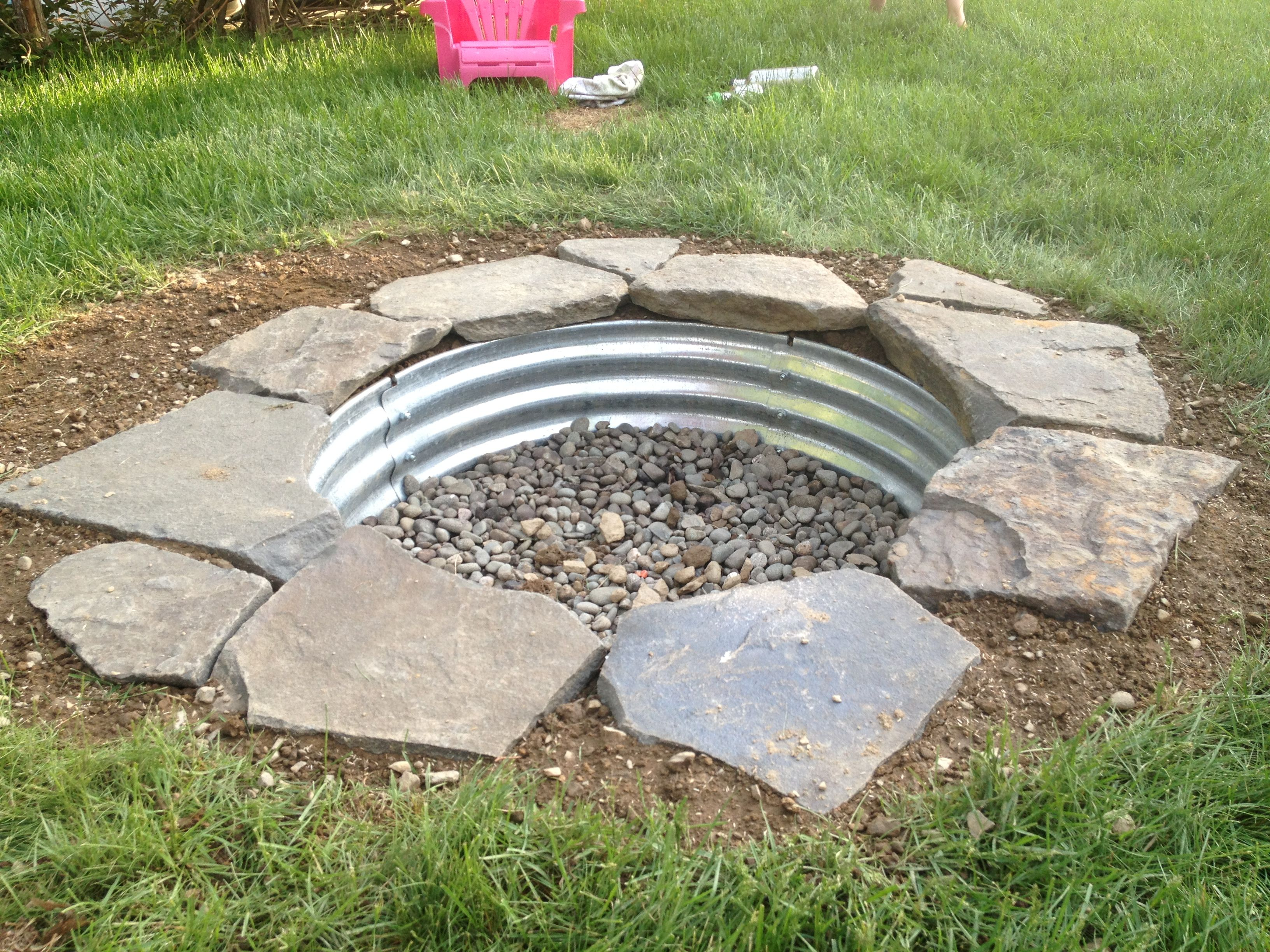 built my in ground fire pit this weekend fireplace