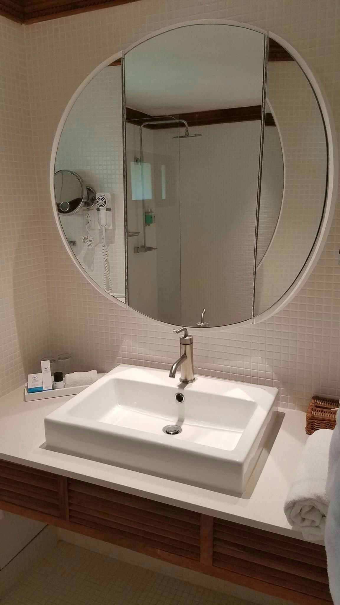 Pin By Destinations 24 7 Travel Servi On Couples Swept Away Resort Negril Jamaica With Images Round Mirror Bathroom Bathroom Mirror Lighted Bathroom Mirror