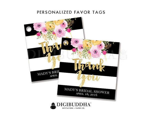 Black white bridal shower favor tags with boho chic watercolor black white bridal shower favor tags with boho chic watercolor flowers gold glitter and negle Image collections