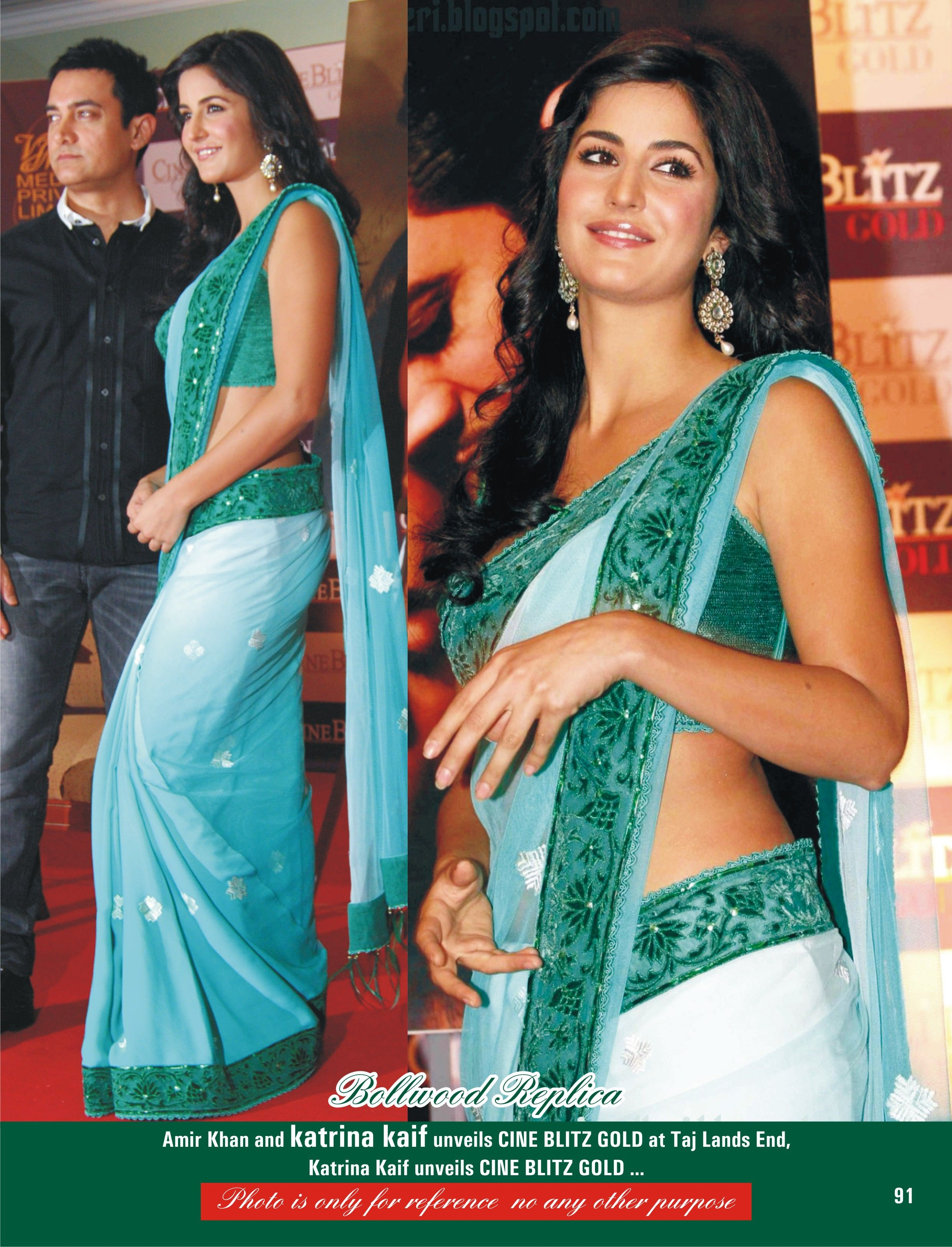 Katrina Kaif Designer Aqua Blue Saree Order here - http ...