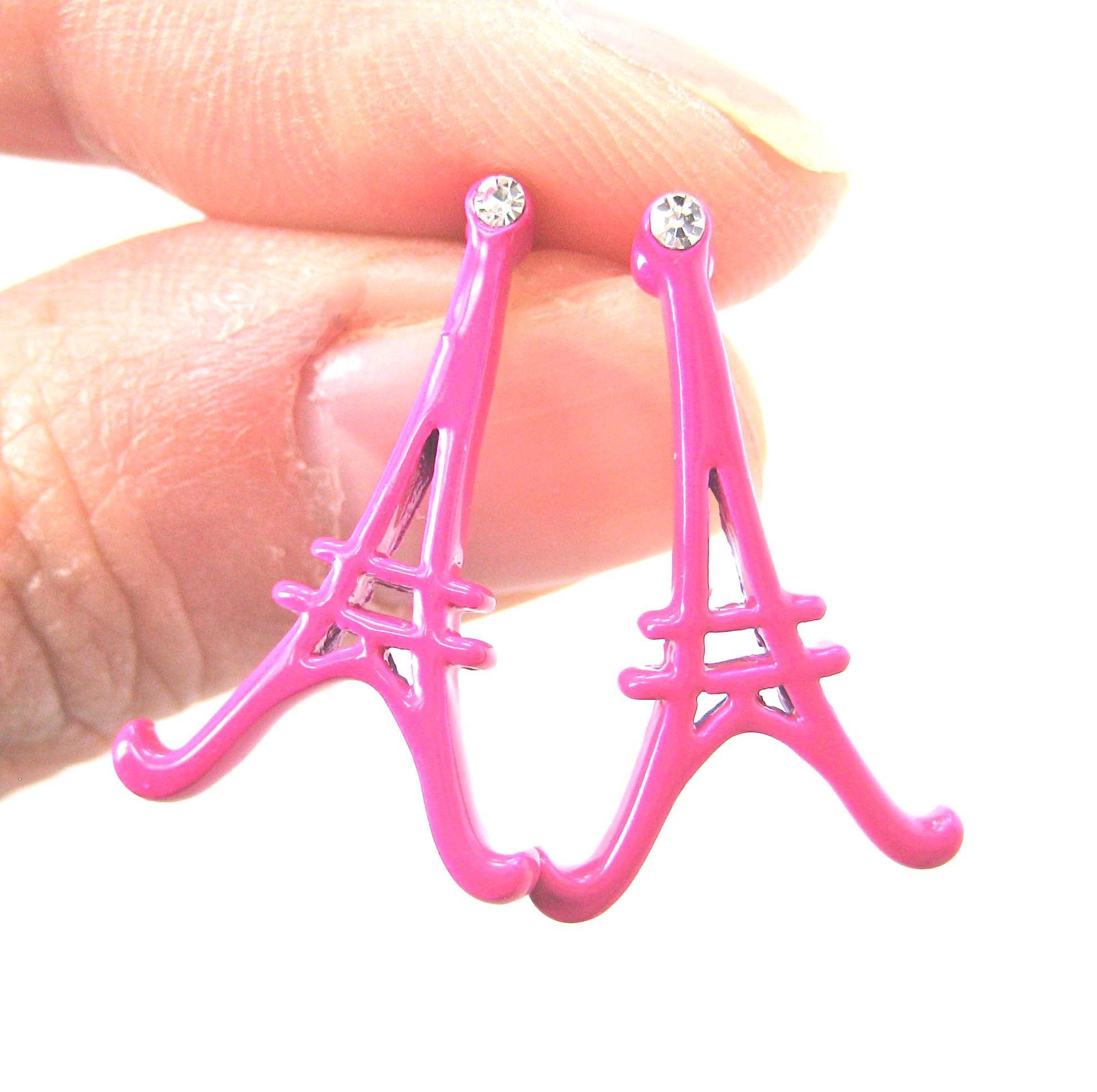 Large Eiffel Tower Shaped Paris France Travel Stud Earrings in Pink
