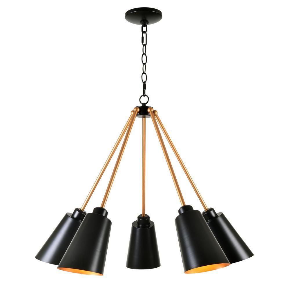 Kenroy Home Alvar 5 Light Black Chandelier With Black Shade