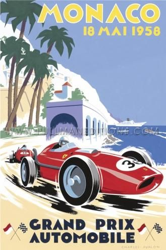 1958 Monaco Grand Prix Racing the Red: the 100-lap Monaco Grand Prix was won, to the delight of the Monegasque crowd, by popular French pilote Maurice Trintignant in a Cooper- Climax, flagged home ahead of the Ferraris of Luigi Musso and Peter Collins in second and third place respectively. A parade of drivers of race-winning calibre, including Olivier Gendebien, Alfonso 'Fon' de Portago, Graf Wolfgang von Trips, in company w/Trintignant, Musso and Collins Charles Avalon 97 x 65.5 cms @ $750