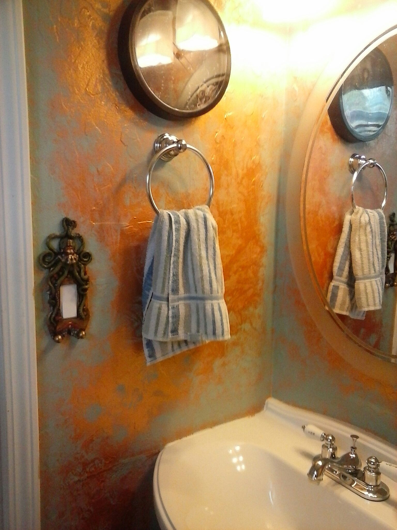Copper Painted Walls With Patina For A Steampunk Submarine Bathroom Look Copper Paint Wall Painting Wall Lights