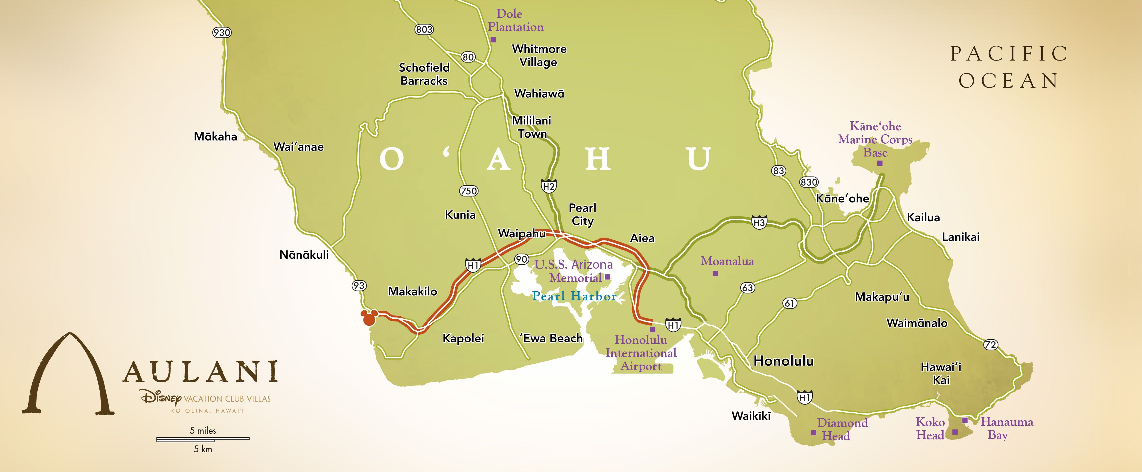 Map Of United States Showing Arizona%0A A map showing the route from Honolulu to Aulani Resort  u     Spa on the  Southwestern shore of O u    ahu