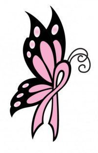 Butterfly Cancer Ribbon Drawing