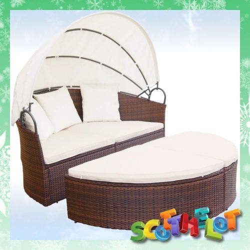 outdoor garden patio circular round rattan canopy sun lounger day bed brown new - Garden Furniture Loungers