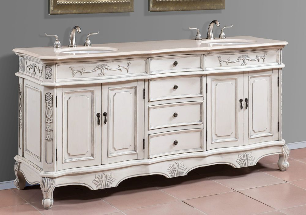 72 Inch Antique White Double Sink Bath Vanity with Cream Marble Top - Item  1173 - 72 Inch Antique White Double Sink Bath Vanity With Cream Marble Top