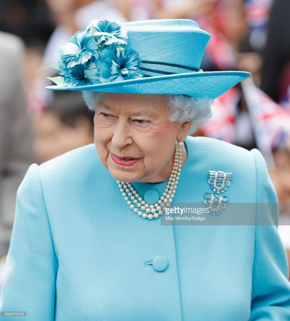Queen Elizabeth II visits Mayflower Primary School (located on the site of the Upper North Street School) during a day of engagements in Tower Hamlets commemorating the centenary of the bombing of Upper North Street School during the First World War on June 15, 2017 in London, England. (Photo by Max Mumby/Indigo/Getty Images)