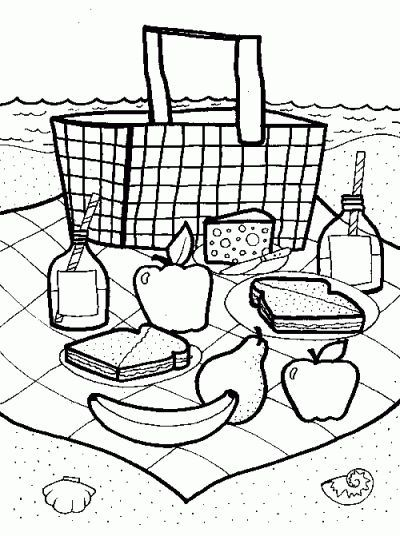 Picnic Basket Coloring Page Picnic Theme Crafts Picnic Basket