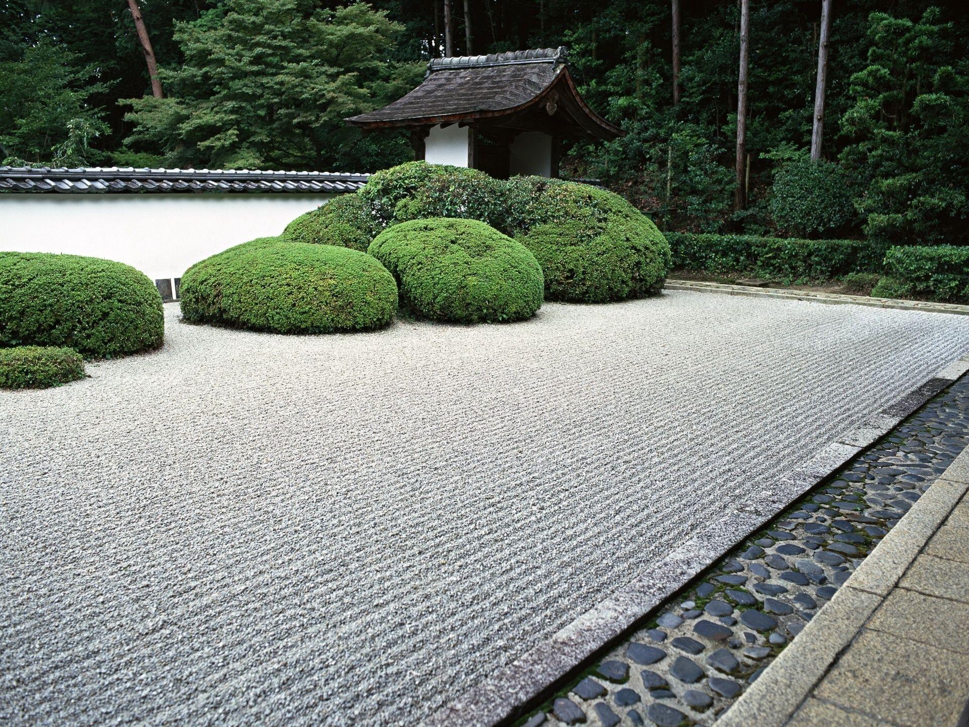 zen garden japan shrubs theme nature 1920x1440px