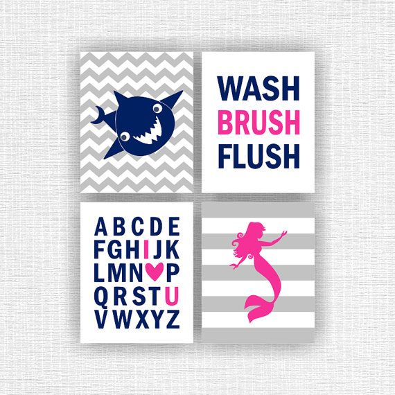 Instant Download Hot Pink Navy Blue Girl Boy Brother Sister Shark Mermaid Alphabet Wash Brush Flush Bathroom Wall Art Decor Set Of 4 8x10 Mermaid Bathroom Decor Bathroom Kids Girl Bathroom Decor
